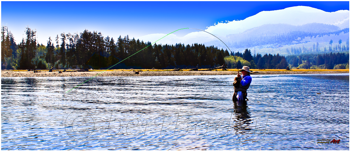 Blue on Blue. Fly-fisher, Eve River BC